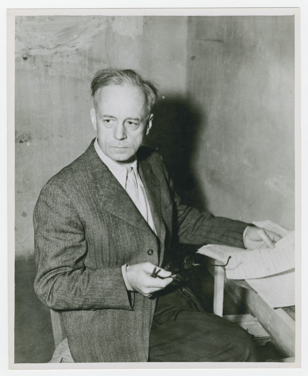"""<p>Foreign Minister of Germany from 1938 to 1945, <a href=""""/narrative/9878/en"""">Joachim von Ribbentrop</a> sits in his cell during <a href=""""/narrative/9366/en"""">the Nuremberg trials</a>. Photographed circa November 20, 1945 – October 01, 1946.</p>"""