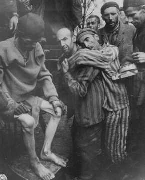 Former prisoners of Wöbbelin, a subcamp of Neuengamme, are taken to a hospital for medical attention. [LCID: 63303]