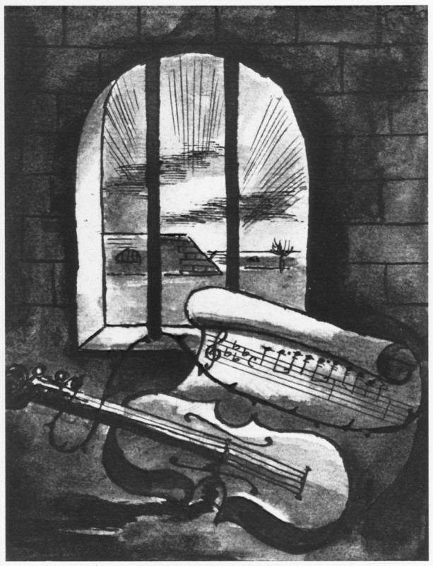 "<p>1943 still life of a violin and sheet of music behind prison bars by Bedrich Fritta (1909–1945). Fritta was a Czech Jewish artist who created drawings and paintings depicting conditions in the <a href=""/narrative/5386"">Theresienstadt</a> camp-ghetto. He was deported to <a href=""/narrative/3673"">Auschwitz</a> in October 1944; he died there a week after his arrival.</p>"