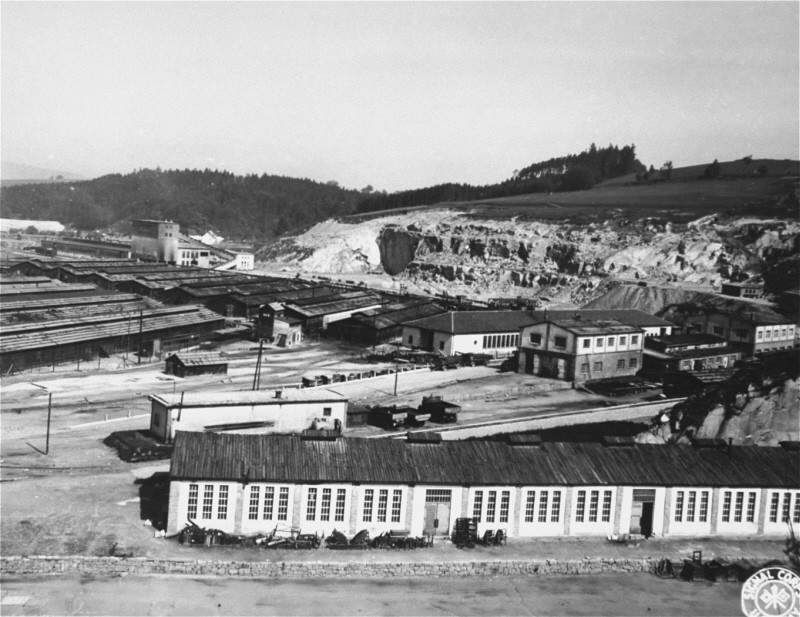 """<p>View of the <a href=""""/narrative/7864/en"""">Gusen</a> camp, which became a subcamp of the <a href=""""/narrative/3880/en"""">Mauthausen</a> concentration camp. This photograph was taken after the liberation of the camp. Gusen, Austria, May 1945.</p>"""
