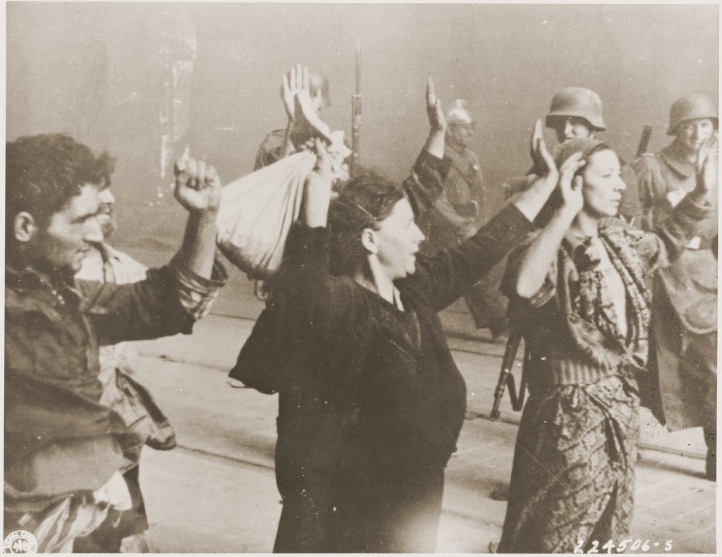 Jews captured during the Warsaw ghetto uprising. Warsaw, Poland, April 19-May 16, 1943. [LCID: 34059]