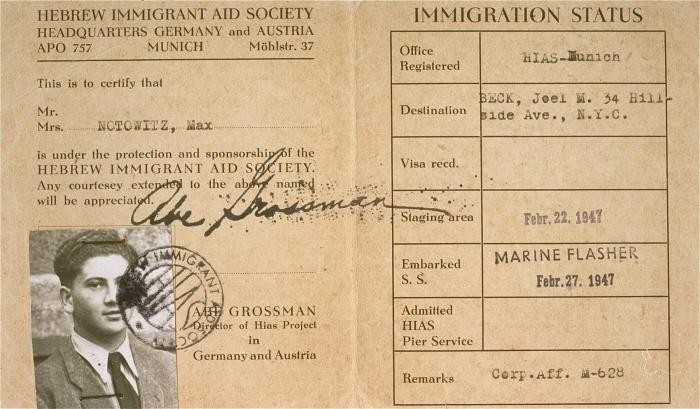 HIAS immigration certificate