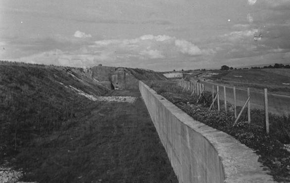 """<p>A view of the Maginot Line, a French defensive wall built after <a href=""""/narrative/28/en"""">World War I</a>. It was intended to deter a German invasion. France, 1940.</p>"""