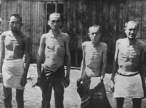 "<p><a href=""/narrative/10135"">Soviet prisoners of war</a> in the Mauthausen concentration camp. Austria, January 1942.</p>"