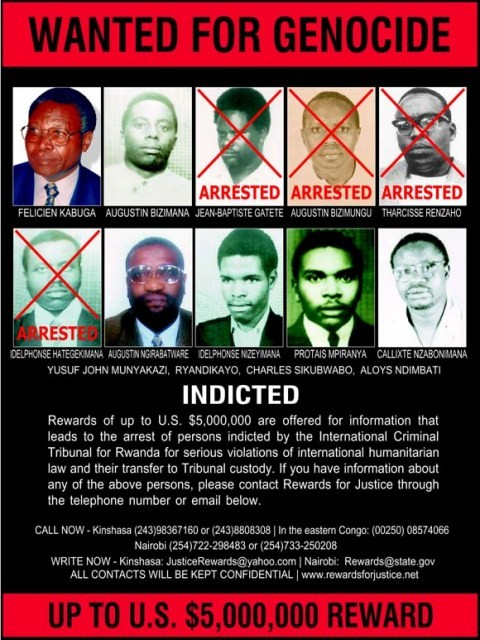Wanted poster, published by the Rewards for Justice program, seeking key perpetrators who have been indicted by the International ... [LCID: geno03]
