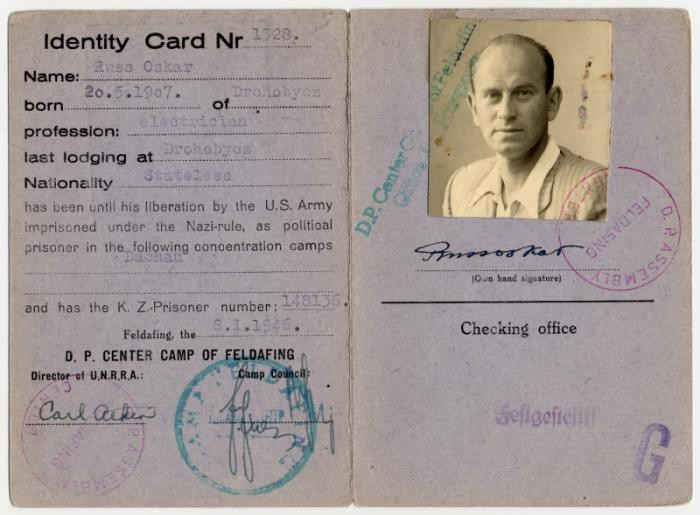 <p>Identification card issued to Oskar Russ in the Feldafing displaced persons' camp.</p>
