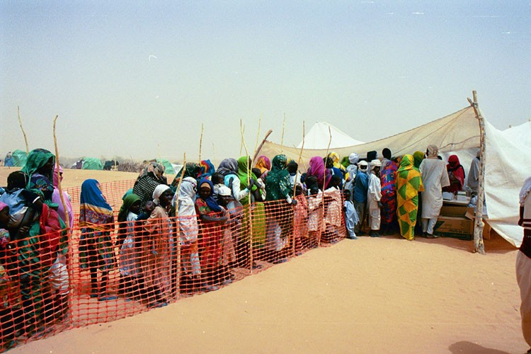<p>Refugees line up in a camp in eastern Chad for refugees from the Darfur region of neighboring Sudan. Jerry Fowler, Staff Director of the Museum's Committee on Conscience, visited in May 2004 to hear firsthand the refugees' accounts of the genocidal violence they faced and of being driven into the desert.</p>