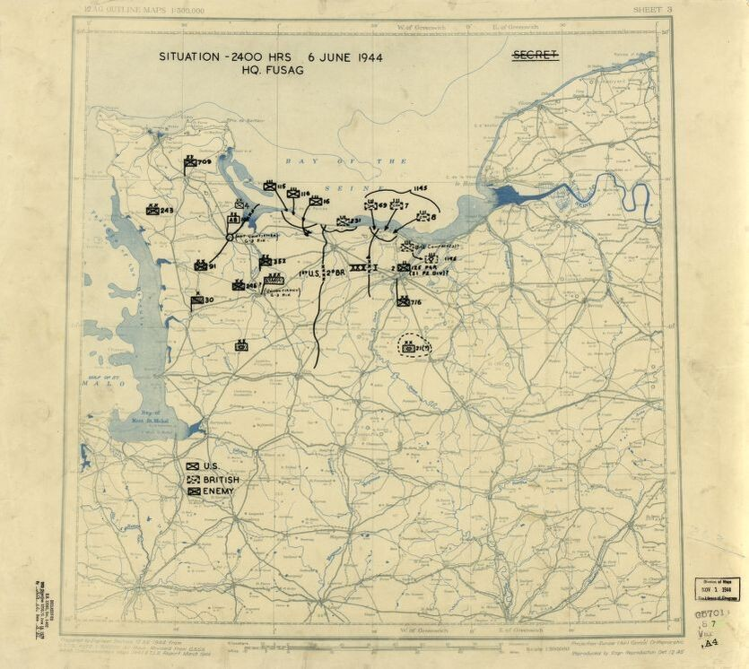 Dated June 6, 1944, this US Twelfth Army Group situation map shows the presumed locations of Allied and Axis forces on D-Day, when Allied troops landed on the beaches of Normandy. Drafted during the war, the content in this historical map reflects the information that operational commander, General Omar N. Bradley, would have had on hand at the time.