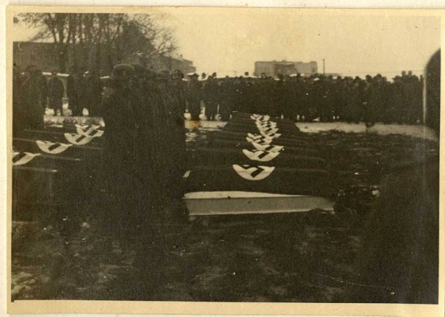 "<p>Scene during the funeral of SS officers killed in the December 26, 1944, Allied bombing of <a href=""/narrative/3673"">Auschwitz</a>.</p>"