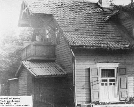 Located on Ulica Stara (Old Street), outside the Vilna ghetto, this building was used as a safe house by the ghetto resistance. [LCID: 02047]