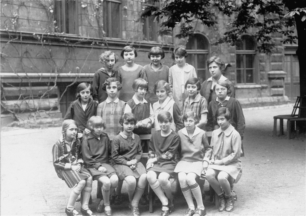 Ruth Kohn (top row, second from left) and her classmates at a school in Prague. [LCID: 04607]