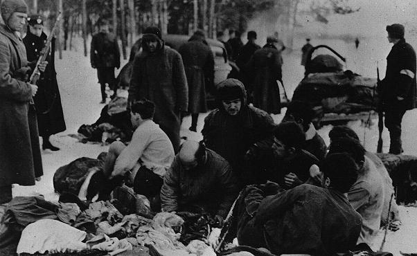 <p>在射杀犹太囚犯之前,德国警察及其乌克兰帮凶强迫他们脱去衣服。拍摄地点:苏联切尔尼戈夫 (Chernigov);拍摄时间:1942 年。</p>