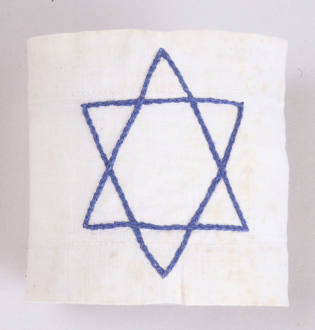 White armband with blue Star of David [LCID: 20000n5x]