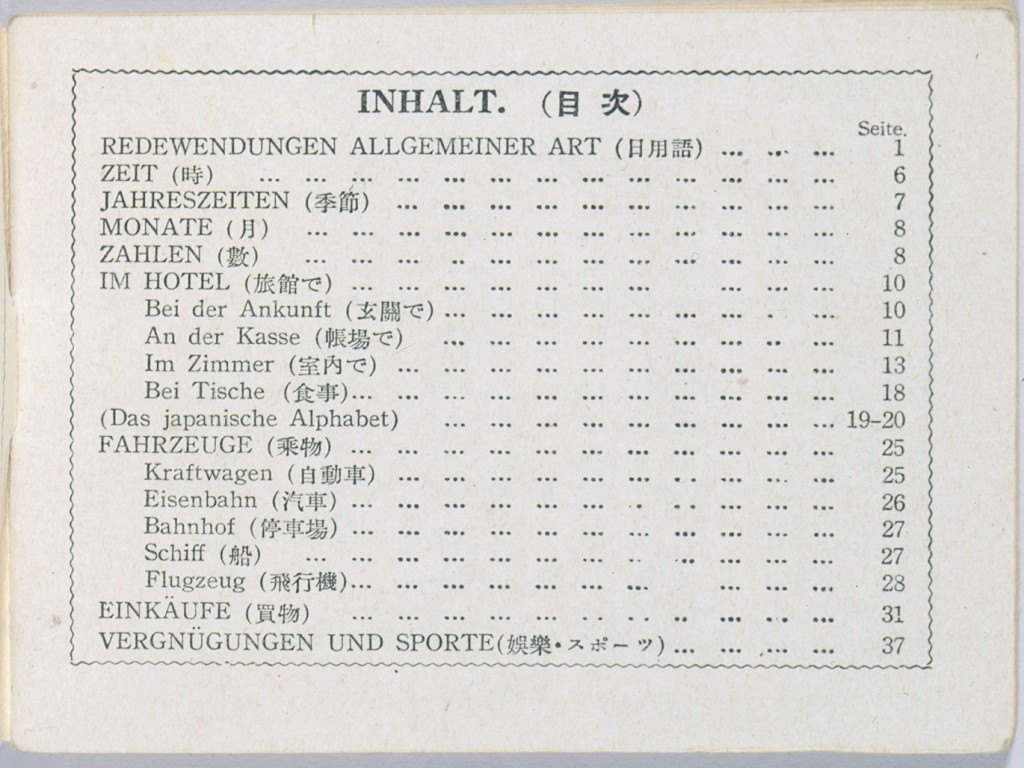 <p>The table of contents from a Japanese-German phrase book purchased by German Jewish refugees shortly after their arrival in Japan. The phrase book offers useful expressions in Japanese relating to travel, hotel stays, eating, and shopping in Japan. Japan, 1940-1941. [From the USHMM special exhibition Flight and Rescue.]</p>