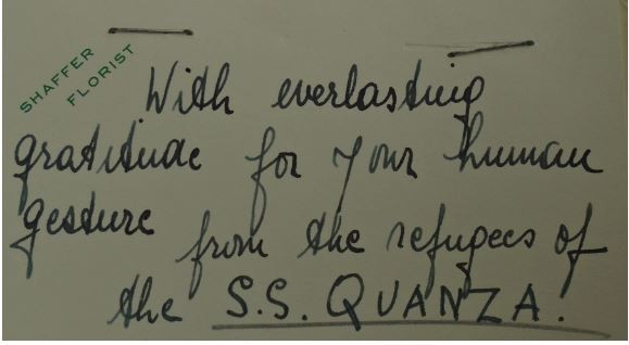 Card from SS Quanza passengers to the White House