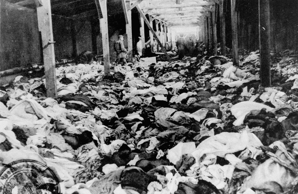 After liberation of the Auschwitz camp: a warehouse of clothes that belonged to women who were murdered. [LCID: 85653]