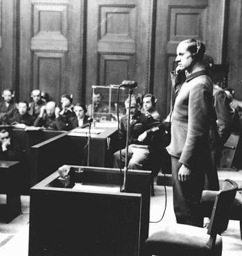 "<p>Defendant Karl Brandt testifies during the <a href=""/narrative/9245"">Doctors Trial</a>. Nuremberg, Germany, December 9, 1946-August 20, 1947.</p>"