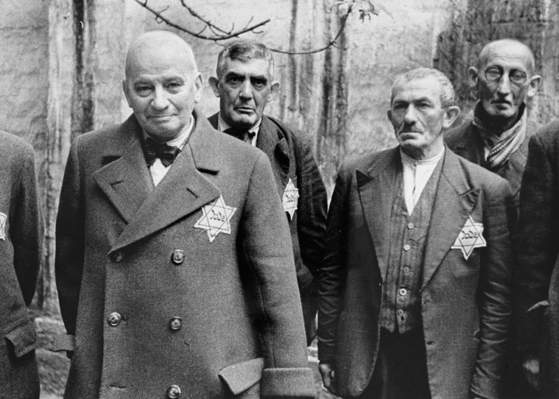 Viennese Jews wearing the Jewish badge. Vienna, Austria, 1941.