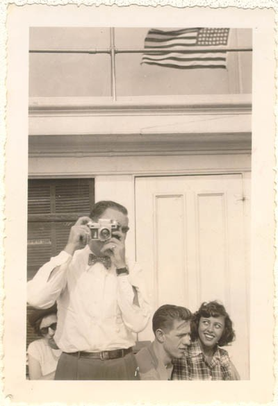 Norman (with camera) in the United States. August 1948. [LCID: sals24]