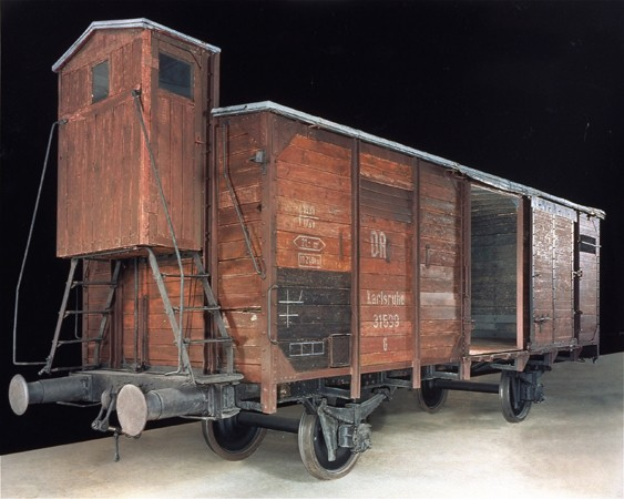 View of the railcar on display in the permanent exhibition of the United States Holocaust Memorial Museum. [LCID: n00090]