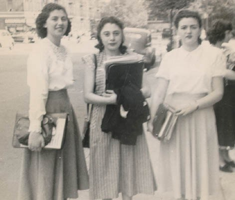 <p>Regina (left) with two friends at Thomas Jefferson High School, Brooklyn, New York, 1948.</p>