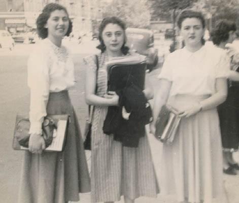Regina (left) with two friends at Thomas Jefferson High School, Brooklyn, New York, 1948.