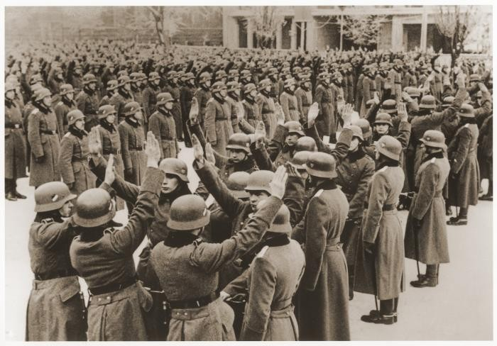 Soldiers swear an oath of loyalty to Hitler