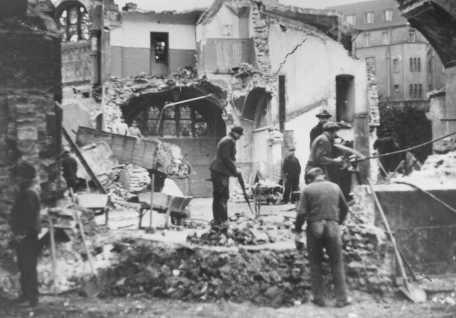 "Destruction of the Dortmund synagogue during Kristallnacht (the ""Night of Broken Glass""). [LCID: 85287]"