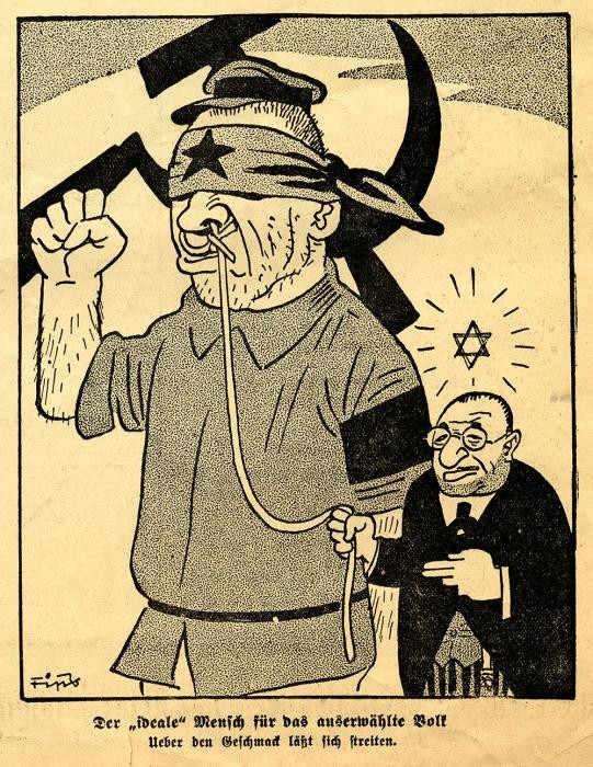 Antisemitic cartoon showing a Jew leading a Soviet official by a leash