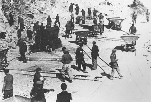 Jewish prisoners at forced labor in a quarry near Tarnopol.