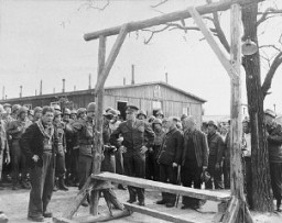 <p>During an official tour of the newly liberated Ohrdruf concentration camp, an Austrian Jewish survivor describes to General Dwight Eisenhower and the members of his entourage the use of the gallows in the camp. Among those pictured is Jules Grad, correspondent for the US Army newspaper <em>Stars and Stripes</em> (on the right). Ohrdruf, Germany, April 12, 1945.</p>
