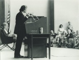 "<p><a href=""/narrative/10130/en"">Elie Wiesel</a> speaks at the Faith in Humankind conference, held several years before the opening of the United States Holocaust Memorial Museum. September 18–19, 1984, in Washington, DC.</p>"