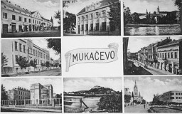 <p>Postcard depicting different sights in Munkacs. Czechoslovakia, 1938.</p>
