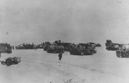 "<p>Units of a German armored division on the <a href=""/narrative/3582/en"">eastern front</a> in February 1944. Soviet forces, largely on the offensive since the battle of Stalingrad, pushed German troops to the borders of East Prussia by the end of 1944. Soviet Union, February 1944.</p>"