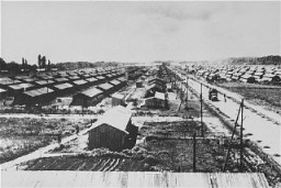 <p>View of the Gurs camp as photographed from a water tower. Gurs, France, ca. 1941.</p>