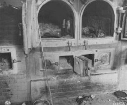 <p>The crematoria at the Gusen camp, a subcamp of Mauthausen concentration camp, still held human remains after liberation. Austria, May 5, 1945.</p>