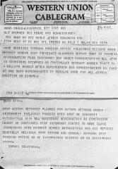 برطانوی یہودی لیڈر سڈنی سلور مین نے جنیوا میں ورلڈ جیوئش کانگریس کے نمائیندے گرھارٹ ریگنر کی طرف سے بھیجی گئی کیبل کی یہ کاپی امریکی یہودی لیڈر اسٹیفن وائز کو روانہ کی۔