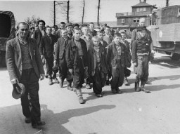 <p>Children march out of Buchenwald to a nearby American field hospital where they will receive medical care. Buchenwald, Germany, April 27, 1945.</p>