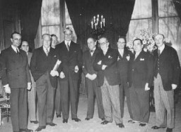 <p>Delegates to the Evian Conference, where the fate of Jewish refugees from Nazi Germany was discussed. US delegate Myron Taylor is third from left. France, July 1938.</p>