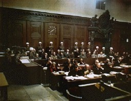 The accused and their defense attorneys at Nuremberg