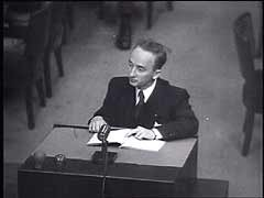 <p>After the trial of major war criminals before the International Military Tribunal in Nuremberg, the United States held a series of other war crimes trials at Nuremberg—the Subsequent Nuremberg Proceedings. The ninth trial before the American military tribunal in Nuremberg focused on members of the Einsatzgruppen (mobile killing units), who had been assigned to kill Jews and other people behind the eastern front. In this footage of the prosecution's opening statement, US prosecutor Ben Ferencz explains the distinction between war crimes and crimes against humanity. In the process, Ferencz condemns genocide.</p>