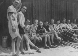 <p>Young survivors of the Buchenwald concentration camp soon after liberation. Germany, April-June 1945.</p>
