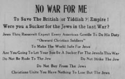 <p>Antiszemita elszigetelődéspárti kiadvány. Egyesült Államok, ismeretlen dátum.</p>