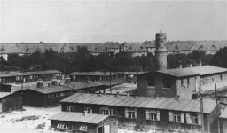 <p>View of the Biesinitzer Grund (Goerlitz) concentration camp, a subcamp of Gross-Rosen, after liberation. Poland, May 1945.</p>