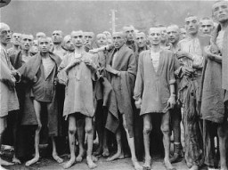"<p>Prisoners at the time of liberation of the Ebensee camp, a subcamp of the Mauthausen concentration camp. This photograph was taken by <a href=""/narrative/8129/en"">US Army Signal Corps</a> photographer <a href=""/narrative/8153/en"">Arnold E. Samuelson</a>. Austria, May 7, 1945.</p>"