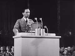 "<p>This footage shows Joseph Goebbels, Nazi minister for propaganda and public education, speaking at the September 1935 Nazi Party Congress in Nuremberg. In the speech, Goebbels--a fanatic antisemite--linked Bolshevism with international Jewry and warned Nazi party members of an alleged international Jewish conspiracy to destroy western civilization. Goebbels led the purge of Jewish and other so-called ""un-German"" influences from the cultural institutions of Nazi Germany.</p>"