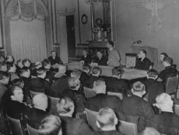 "<p>In the auditorium of the <a href=""/narrative/11806"">Propaganda Ministry and Public Enlightenment</a>, Nazi Propaganda Minister Joseph Goebbels delivers a speech to his deputies for the press and arts. Berlin, Germany, November 1936.</p>"