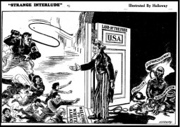 "<p>Cartoon depicting the United States' response to the <a href=""/narrative/25566/en"">refugee crisis</a> in Europe, as well as the racism and discrimination African Americans <a href=""/narrative/55653/en"">faced at home</a>. <em>The Pittsburgh Courier</em>, April 16, 1938. Page 10.</p>