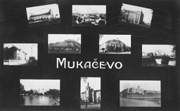 <p>Postcard depicting sights in Munkacs. Czechoslovakia, 1938.</p>