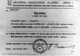 <p>This document is a referral slip that ordered the individual names, Samuel Hirschenhauser, to the Jasenovac camp in Croatia. June 24, 1942.</p>